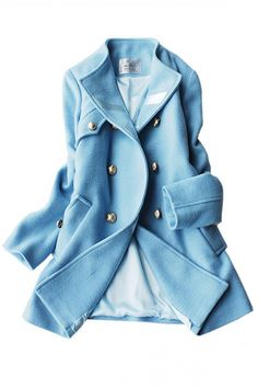 carolina blue collarless pea coat