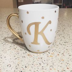 Trying out a new lettering style with this round of gold initial mugs. Click the link in my bio to order yours! by debbiesmuglife