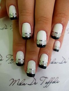 salon style pins | Black, White, and Silver Nails from Salon Style Pins. | I SO CUTE