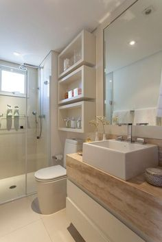 bathroom. white and wood.