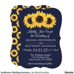 Sunflowers Wedding Invitations Country Blue