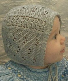 Knitting Pattern for Beloved Baby Bonnet - This sweet little cap with lace and eyelets was inspired by a hand-embroidered infant's bonnet from the Regency era. Three sizes to fit 16 head circumference. Designed by Kathleen Sperling Baby Bonnet Pattern Free, Baby Hat Knitting Pattern, Baby Hats Knitting, Beanie Pattern, Knitted Baby Clothes, Baby Knits, Baby Girl Patterns, Creative Knitting, Baby Bonnets