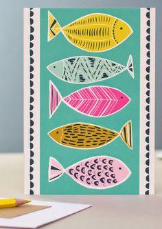 print & pattern: CARDS/WALLPAPER - jessica hogarth 60s Patterns, Print Patterns, Fish Illustration, Graphic Illustration, Fabric Fish, Fish Artwork, Watercolor Paintings For Beginners, Sea Art, Fish Print