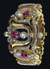Gold, ruby, diamond bracelet