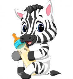 Lindo bebé cebra sosteniendo la botella de leche Vector Premium Baby Cartoon, Cute Cartoon, Zebras, Cartoon Drawings, Cartoon Art, Cartoon Mignon, Decoration Creche, Baby Zoo Animals, Cute Animals Images