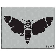 This Stencil1 Moth Skull stencil is great for painting walls, t-shirts, mixed media or craft projects. These laser-cut stencils will give your projects great, detailed results. Made of durable mylar, they can be used again and again! Our stencils can be applied to most surfaces including wood, paper, fabric, metal, ceramic, concrete and glass.