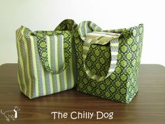 Sewing Tutorial: How to make a set of two large, sturdy, reusable, reversible shopping - tote bags | vma.