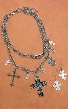 Silver Chain Necklace with Red and Turquoise Cross Pendant and Earrings Set
