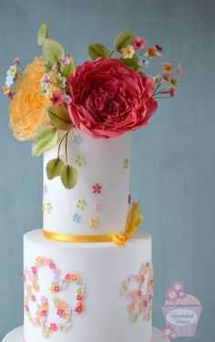 """Summer"" wedding cake design with sugar mallow-style appliqué flowers, blossoms and hand piping, topped with sugar David Austin roses. For couples who love colour!  {Inspired by Liberty London's ""Mauvey C Tana Lawn"" from the Liberty Art Fabrics collection.}"