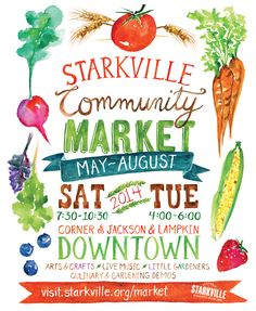 #Watercolor illustrated poster for the 2014 Starkville Community Market
