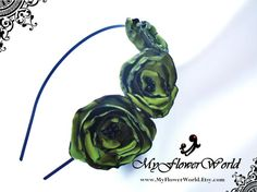Mossy Green Flower on Black Metal Headband. by MyFlowerWorld