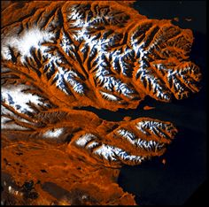 Icelandic Tiger by USGS/NASA via earthsky.org: Landsat image of stretch  of coastline in Iceland. #Iceland #NASA #USGS #earthsky_org