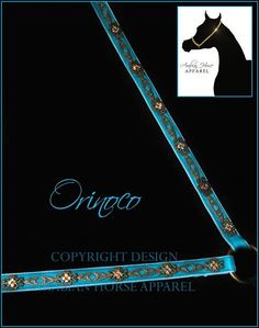 Orinoco' is made on a base of vibrant teal velvet which will stand out on any horse. Elegant antique toned accents adorn both the nose and the sides of the halter. Delicately patterned pieces are alternated with beautiful filigree accents, each adorned with four genuine Swarovski crystals in a bright topaz gold. This superb halter would stand out on a horse of any colour, but would undoubtedly be magnificent on a dilute or chestnut.