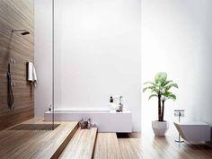 Bathroom , Modern Minimalist Bathroom Design : Minimalist Bathroom Design In Natural Style With White Walls Paired With Bamboo Shower Backdrop And Flooring Design Your Own Bathroom, Spa Like Bathroom, Wooden Bathroom, Modern Bathroom Design, Bathroom Interior, Modern Interior Design, Modern Bathrooms, Bathroom Ideas, Warm Bathroom