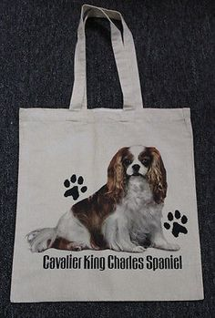 Med. Sized King Charles Cavalier Dog Canvas Tote Bag Shopping Grocery Reusable