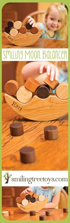 Smiling Moon Balancer // Handcrafted, organic wooden toy personalized for your little one. Made in USA! Unique gift for toddlers this Christmas!