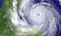 A satellite image showing Hurricane Dean heading towards Mexico's Yucatan peninsula