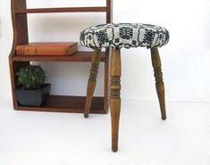Items similar to Antique Three Leg Stool Small Wood Primitive Upholstered Blue Coverlet Farmhouse Tripod Stool 3 Legged Stool on Etsy Vintage Wood, Vintage Home Decor, Small Footstool, White Coverlet, Kids Stool, Doll Display, Rustic Cottage, Farmhouse Chic, Occasional Chairs