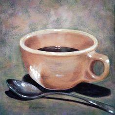 coffee acrylic painting | Coffee Cup & Spoon Acrylic Painting, 8x8 Art Print…