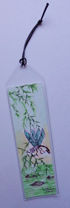 Original Watercolor Bookmark - Dragonfly on Bamboo Branch by RaissasArtmarket on Etsy