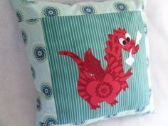 A Good Luck Dragon Pillow by gigglesandtoots on Etsy, $35.00
