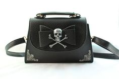 Dahlia Deranged Designs - Skull and Crossbones Filigree Bow Mini Handbag/Clutch