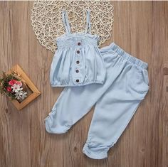 Cheap girls summer, Buy Quality kids girls outfits directly from China kids outfits girls Suppliers: 2017 New Lovely Child Toddler Kid Girl Summer Sleeveless Top T-shirt Pants Clothes Jumpsuit Outfits Kids Dress Wear, Dresses Kids Girl, Kids Outfits Girls, Kids Wear, Girl Outfits, Baby Girl Fashion, Kids Fashion, Style Fashion, Baby Frocks Designs