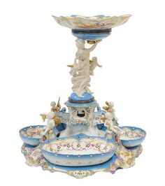 an impressive sevres style bleu celeste porcelain adn biscuit figural centerpiece/epergne