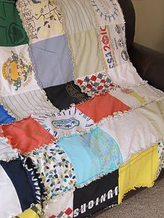 Rag quilt of memories - use old clothing and linen to make a blanket full of memories from your family's pre-loved stuff!
