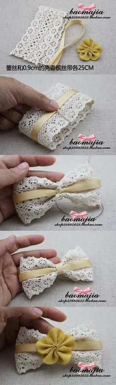 Lace hair clip or package bow. Diy Ribbon, Ribbon Crafts, Ribbon Bows, Ribbons, Diy Headband, Baby Headbands, Knotted Headband, Diy Bebe, Bow Tutorial