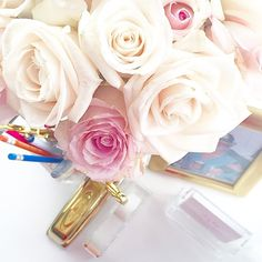Cream and blush roses make working on a Sunday much easier...