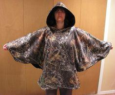 Mens poncho, hooded poncho, fleece poncho, camo poncho, reversible poncho…