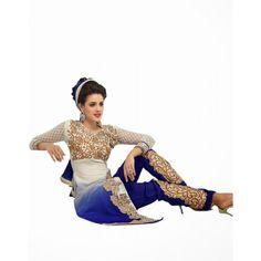 Eid Special Designer Fancy Neck Blue & White Color Unstitched Salwar Kameez-GS303( OFB-Sparkal )Karishma