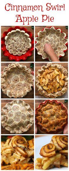 Apple Cinnamon Pie, Cinnamon Roll Crust, Cinnamon Swirls, Cinnamon Desserts, Apple Desserts, Holiday Desserts, Just Desserts, Holiday Recipes, Delicious Desserts