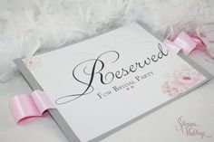 Personalized Chair Signs - BIG Reserved signs - Pink and Silver Flowers