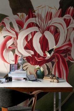 'Crinum Augustum' Wallpaper Mural from the New York Botanical Garden collection. Mural Art, Wall Murals, Wall Art, Stencil Painting On Walls, Painting Frames, Floral Room, My Art Studio, Home Wallpaper, Art For Art Sake