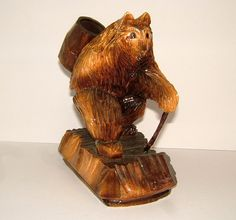 Russian carved Wooden Bear Match Holder Black by BiminiCricket, $50.00