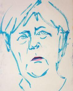 いいね!11件、コメント1件 ― @1mindrawのInstagramアカウント: 「#1mindraw #angelamerkel #アンゲラメルケル #ドイツのお母さん #19540717 #birthday #誕生日 #portrait #筆ペン画」