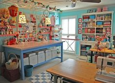 Amazing sewing room shared Stichin Heaven from a blog by Kathy from Pink Chalk Studio