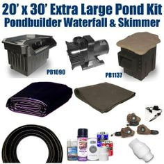 """20 x 30 Extra Large Koi Pond Kit 5,200 GPH Pump Pondbuilder Elite Skimmer & 30"""" Elite Pondbuilder Waterfall XLP7 by Patriot. $1857.50. 2"""" x 50' FreezeFlex PVC Hose, 2"""" Check Valve, (3) 20 Watt Rock Lights with 60 Watt Transformer, All Installation Hardware & Directions. Ships Truck Freight - Additional Carrier Charges May Apply. 20 x 30 EPDM LifeGuard Liner (lifetime warranty: 25 years) and 600 Square Feet of Underlayment, Pondbuilder PB1137 Elite Skimmer & 30"""" E..."""
