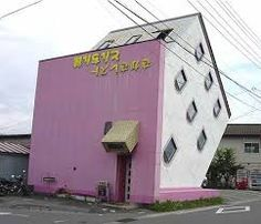 Upside Down House with Pink Roof