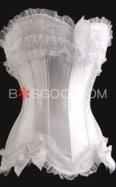 White Lace Bowknot Strapless Side Zipper Closure Corsets