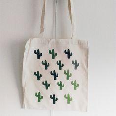 Canvas tote bag all cactus plants van elkedagelbrich op Etsy
