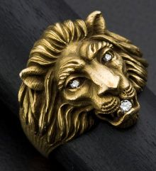 Estate Jewelry:Rings, Gent's Diamond & Gold Lions Ring. ...