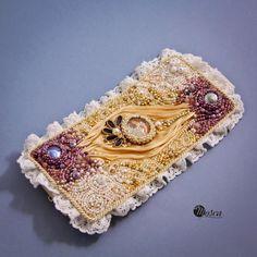 Liliana - bead embroidered bracelet with shibori ribbon
