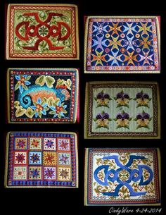 These are needlepoint kneelers. I took a pic of each one but instead posting 17 pics I combined them in 3 collages. In the chapel at Traquair House. by Cindy Ware