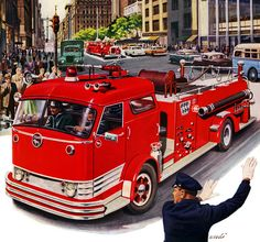 Plan59 :: Classic Truck Art :: 1957 Mack Fire Engines