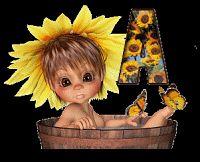 Alfabeto animado nena con girasoles.