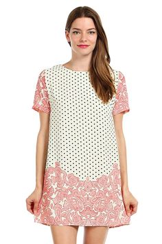 PAISLEY AND POLKA DOT PRINT SHIFT DRESS- Ivory