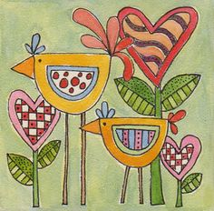 Love Birds original watercolor on board 4 x 4 by BluePumpkinStudio, $28.00